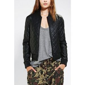 UO Silence + Noise Midnight Quilted Bomber Jacket